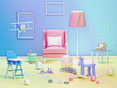 Child room landingpage web texture plane toys child room house 3danimation video ui ux building 3d animation render landing page game isometric lowpoly 3d illustration