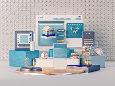 Online Banking website webdesign uiux texture render motion modeling lowpoly layout landingpage isometric interface illustration graphicdesign game finance dashboard app 3d animation 3d