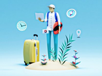 Travel illustration people character wireframe homepage landingpage interface app travel c4d 3dsmax web design ui ux 3d animation render landing page game isometric lowpoly 3d illustration