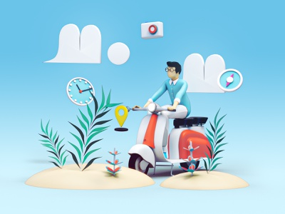 Travel illustration - Motorcycle app 3dsmax human character onboarding uiux web hompage motion video icon render web design 3d animation landing page game isometric lowpoly 3d illustration