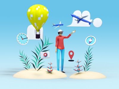 Travel illustration - Airplane uiux webdesign machine transport modeling vector icon video texture interface app travel 3d animation render landing page game isometric lowpoly 3d illustration