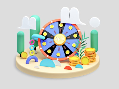 Spin app webdesign tree icons vector interface icon motion city ui ux 3d animation building landingpage render landing page game isometric lowpoly 3d illustration