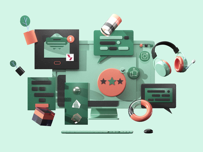 Customer Service aftereffect texture interface icon video 3dsmax motion ui ux web design 3d animation app game graphic design render landing page isometric lowpoly 3d illustration