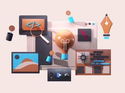 Back office motiongraphic video 3danimation interface web 3dsmax icon uiux web desing render landing page game isometric 3d lowpoly illustration