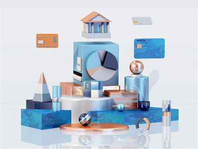 Financial illustration 3dsmax bank financial business icon video motiongraphics homepage interface vector web design ui ux 3d animation render landing page game isometric lowpoly 3d illustration