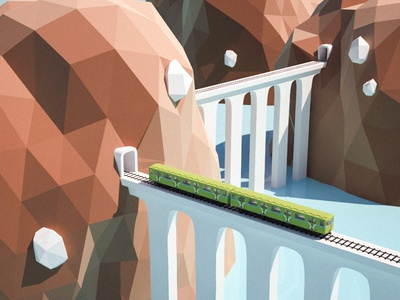 Locomotive water illustration mountains texturing rendering isometric modelling lowpoly game 3d