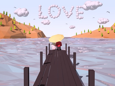Just LOVE water texturing rendering mountains modelling lowpoly isometric illustration game 3d