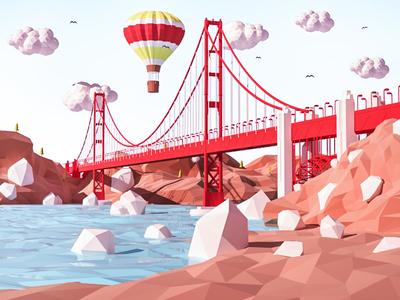 Golden Gate Bridge vray sky render sanfrancisco model lowpoly landscape isometric cloud 3d
