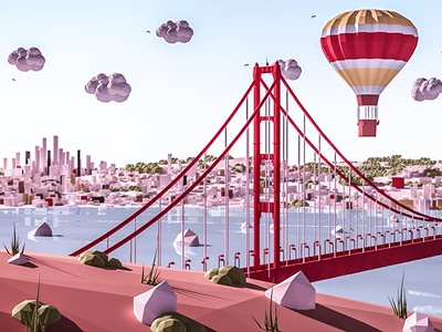 San Francisco sanfrancisco vray render lowpoly isometric ios game building arhitecture 3d