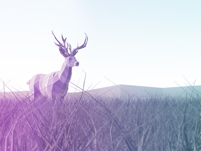 Lonely deer ios lowpoly illustration trees sunset sunrays 3dmax mountains landscape grass deer 3d