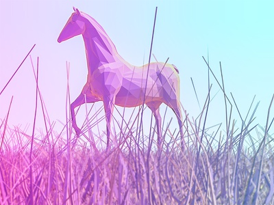 Horse trees sunset sunrays mountains lowpoly landscape ios illustration grass horse 3dmax 3d