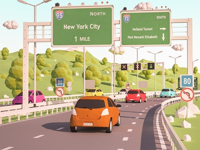 Road to New York ios highway car render lowpoly isometric iso game building arhitecture 3d