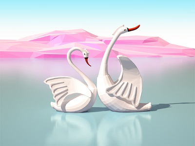 Angry Swan game friend sunrays mountains lowpoly landscape ios illustration sea swan 3dmax 3d