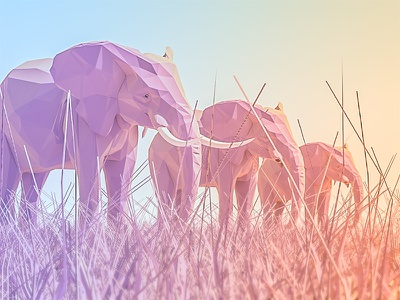 Trinity render game sunrays mountains lowpoly landscape ios illustration grass elephant 3dmax 3d