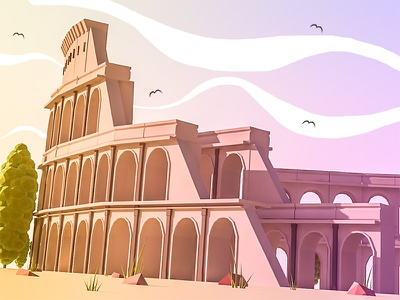 Colosseum in Roma trees history sunrays colosseum lowpoly landscape ios illustration grass italy 3dmax 3d