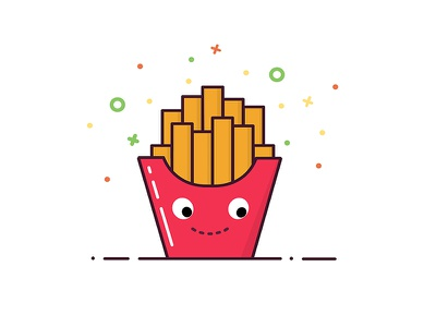 French fries line art icon fast food vector french fries logo landing page illustration flat junk food app 2d