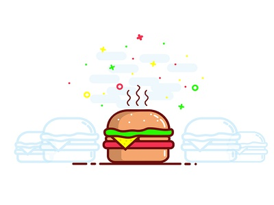 Burger vector. fast food web logo line art illustration icon flat junk food app 2d