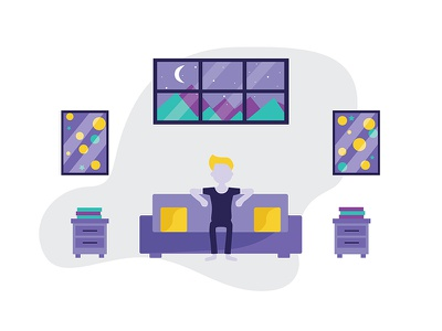 Enjoying Life At Home window web ux ui relax home holiday explore enjoying couch clouds app