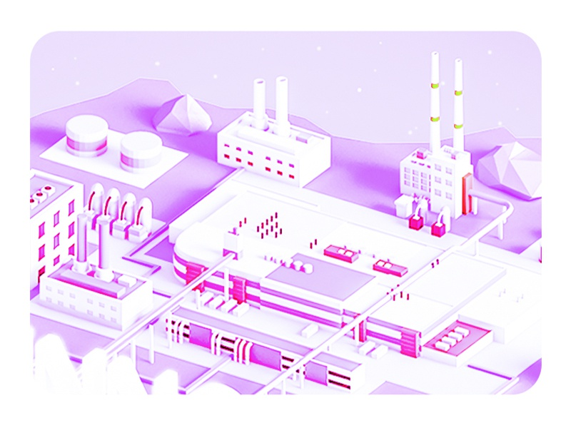 CompAny builidng lowpoly low poly landing page web ux ui business network company city 3d