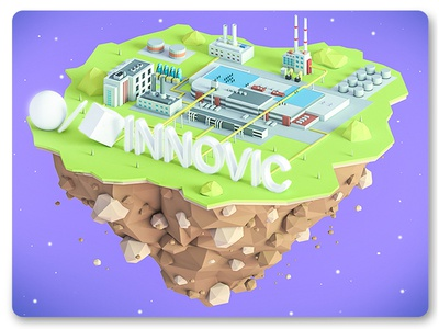 INNOVIC island company  ux town landing page low poly lowpoly illustration ui city web building 3d