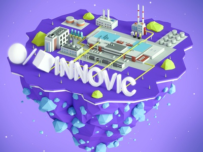 INNOVIC island web ux ui ios icons low poly lowpoly illustration download design building 3d