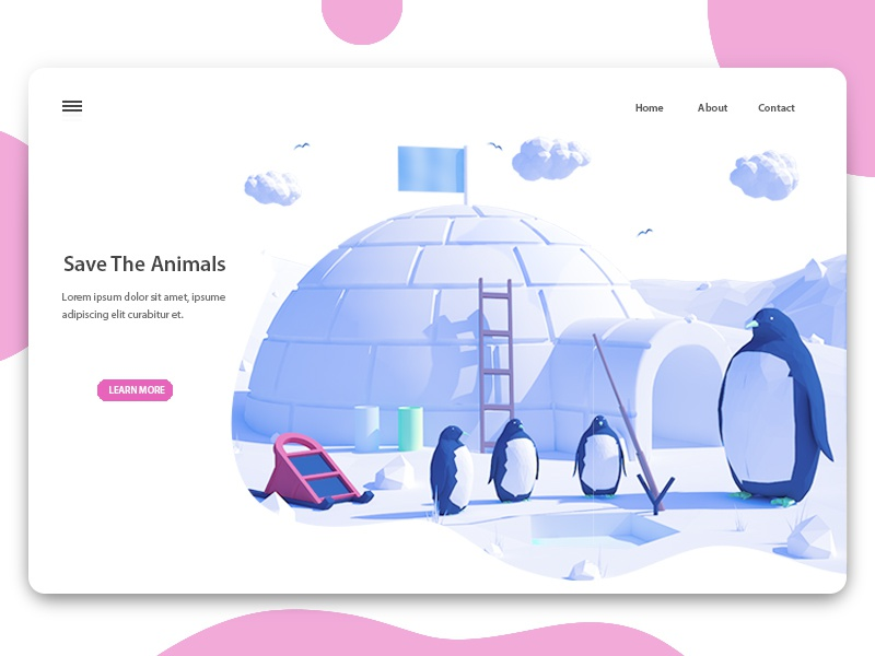 Save The Animals 3d explore animals landing page sign in illustration register interface ios ui ux web