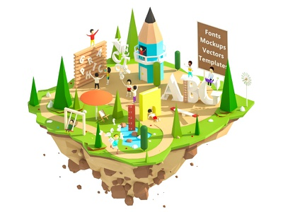 Vsual island building town city road ui ux web design low poly illustration graphic design animation 3d