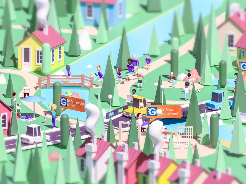 Go Get Funding city 2 man people character web design arhitecture 3d animation ui ux landing page render web design 3d ios city low poly game building isometric lowpoly illustration