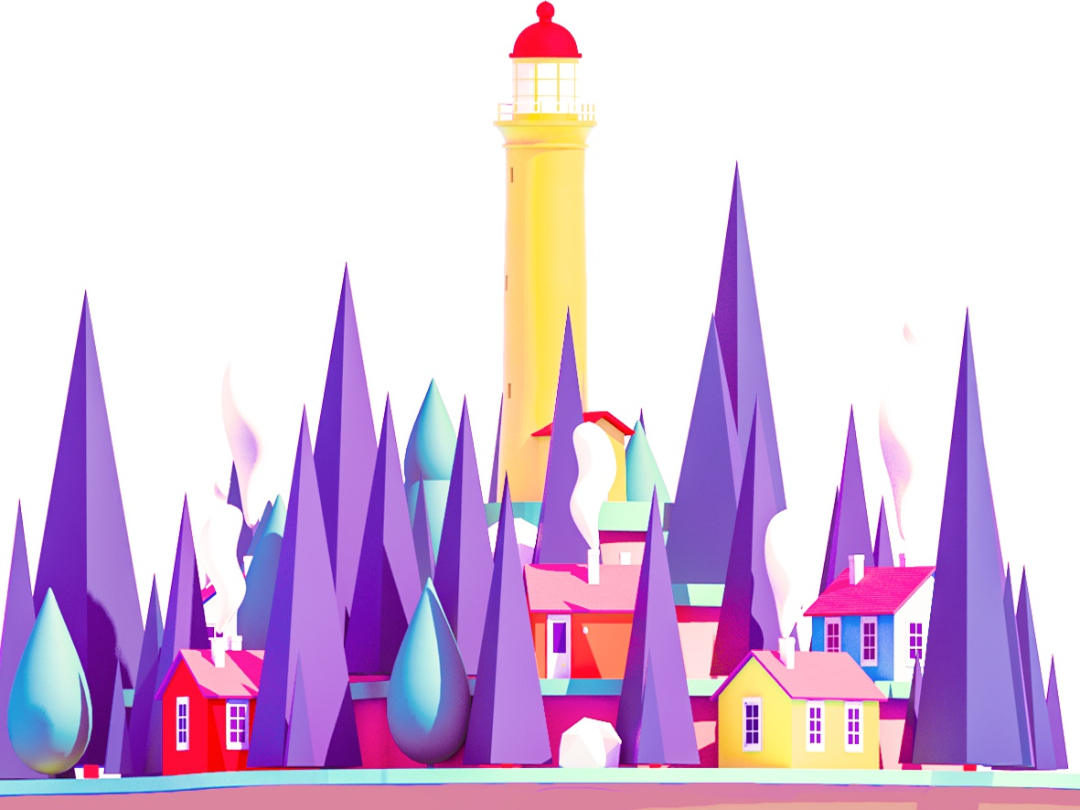Lighthouse interface landscape vector ui arhitecture flat 3d animation web ui ux render landing page design city 3d low poly game building isometric lowpoly illustration