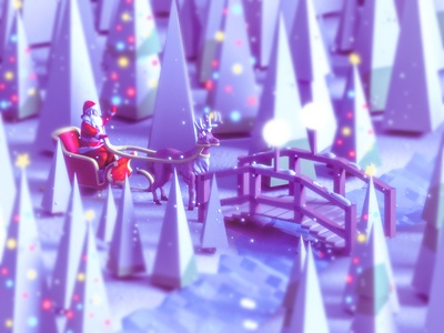 Santa Claus on his way arhitecture flat vector ui ux render 3d animation house bridge river santa claus christmas landing page city low poly 3d game building isometric lowpoly illustration