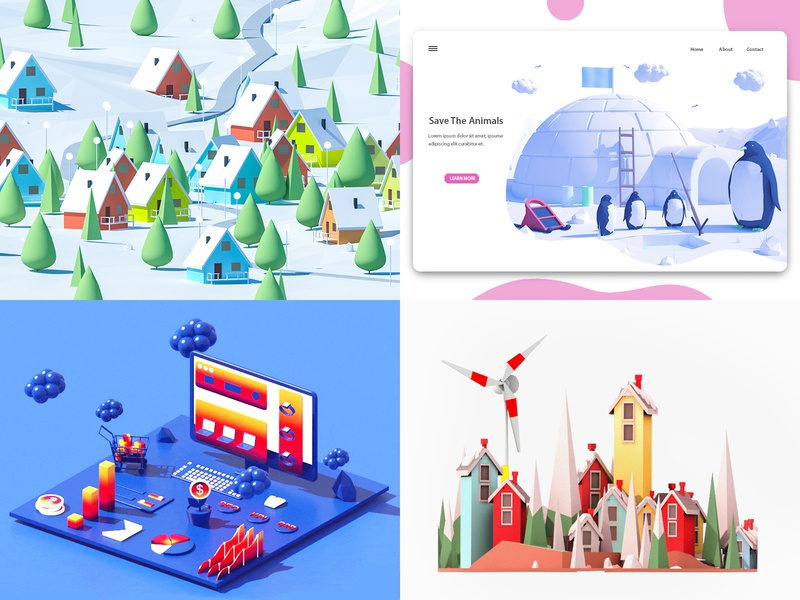 My Top 4 of 2018 vector design landscape web design architecture branding render 3d animation ui ux ui web landing page city low poly game 3d building isometric lowpoly illustration
