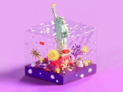Statue of Liberty logo web typography texture branding usa new york architecture web design 3d animation ui ux render landing page city game building isometric lowpoly illustration 3d