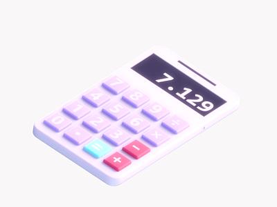 Calculator app branding interface calculator app design web design gadget icon video gif motion 3d animation ui ux render landing page game isometric 3d lowpoly illustration
