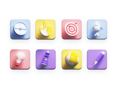 Icons interface user experience ux landing page concept iconset business dashboard texture app landingpage icons 3d animation ui ux render landing page building game isometric lowpoly 3d illustration