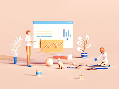 Progress motion 3danimation gif video business web render character application interface blender c4d 3dsmax web design graphicdesign building landing page game isometric lowpoly 3d illustration