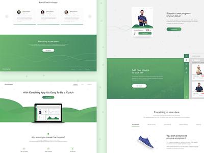 CoachingApp Landing Page visual sport app coach green tennis user-experience user-interface
