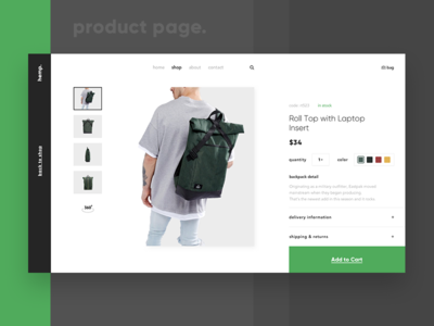 Hemp Packs Product Page product page online shop e-commerce product design shop pack backpack hemp wireframe ux ui