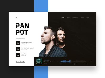 Pan-Pot Home player app userinterfacedesign tours dj dark wireframe music ux ui