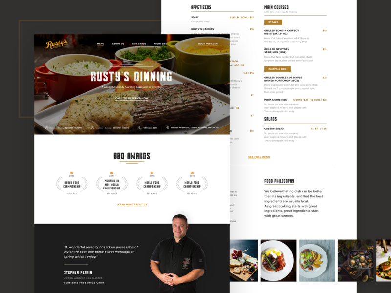 Rusty's Restaurant homepage landing page award winning party drink food restaurant user experience user interface ux ui