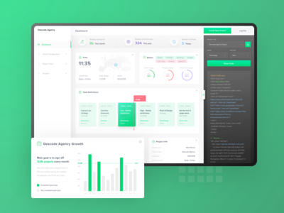 Project Manager - Dashboard project management task app project colors green design dashboard clean user-interface user-experience app web wireframe ui ux