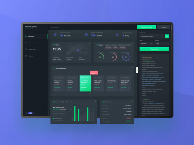 Project Manager Dashboard - night mode fresh animation colors uidesign experience interface green vector blue dashboard design clean web user-interface user-experience app wireframe ui ux