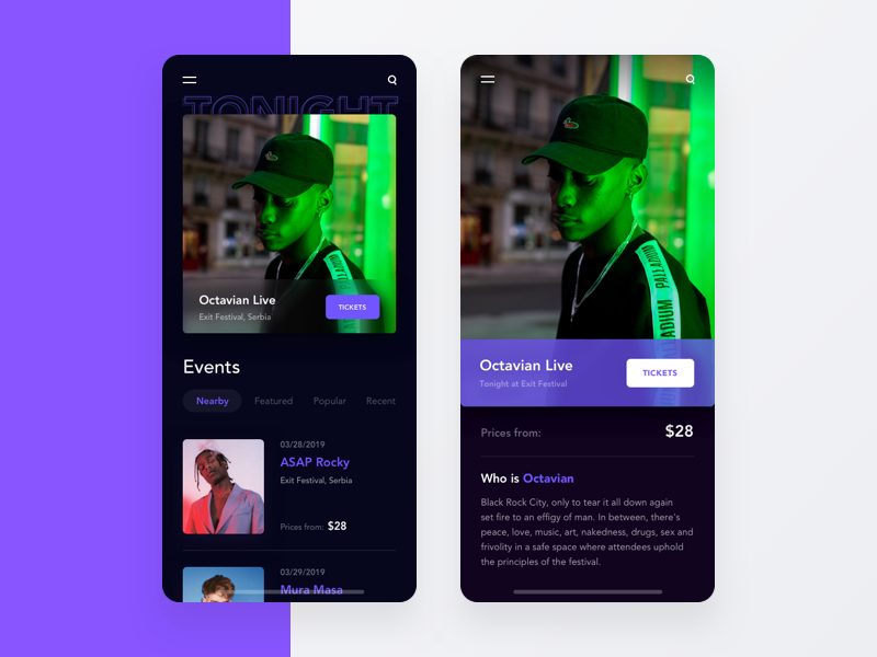 Event Finder App _ Home & Event experience design user-interface app ux ui gig concerts event event app mobile app design app design mobie ux ui design ux designer ux  ui interace ui ux user