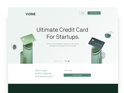 Credit Card Landing Page design landing ui chip finance vc blender visa payment pay mastercard invest illustration fintech crypto enterprise credit card bank 3d