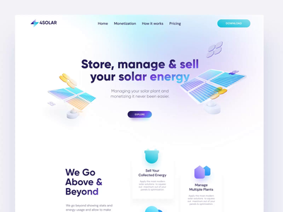4Solar Landing Page blender stats photons renewable solar panel sun power plant solar plant 3d grid power energy solar