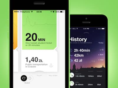 Ticket App ui interface cracow krakow bilet ticket train route app samborek
