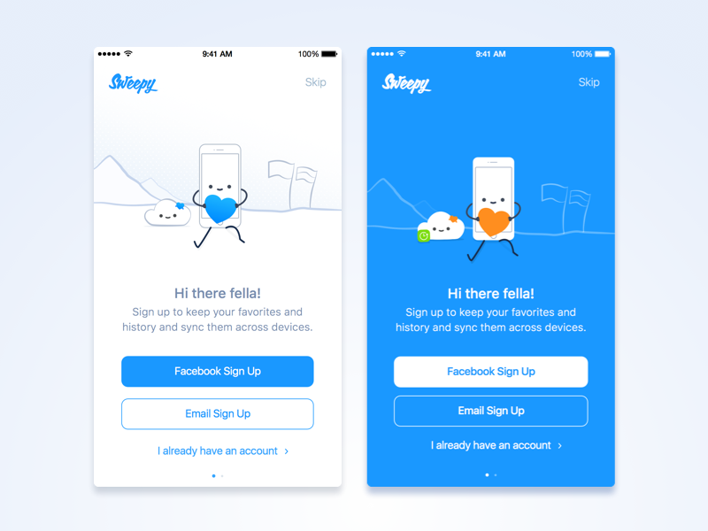 Sign Up Process UI sync cloud friendly samborek design ui sketch illustration experience login signup