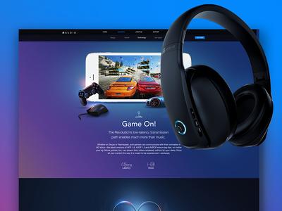 66Audio Site & Revolution Product Page  sound ui samborek revolution page music mobile headset design buy audio 66audio