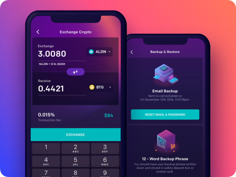 Alden Mobile Wallet #2 alden bitcoin maise wallet crypto cryptocurrency blockchain secure backup exchange password