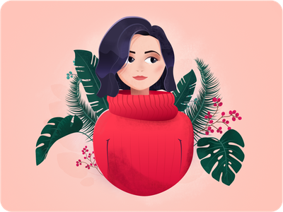 Her lady design character cosy sweater experiment monstera flora floral girl leaves designer afinity portrait digital her
