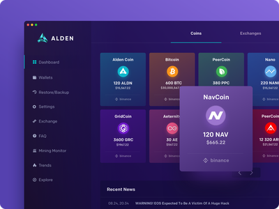 Alden Dashboard fintech portfolio exchange alden app desktop blockchain crypto cryptocurrency wallet maise bitcoin